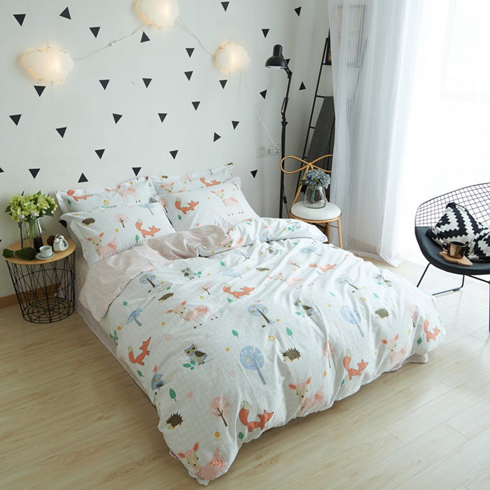 BuLuTu 100% Cotton Animal Bedding Duvet Cover Sets Queen White 3 Pieces Woodland Kids Bedding Sets Full for Boys Girls Zipper Closure with 4 Ties,1 Duvet Cover and 2 Pillowcases,90''x90'' by BuLuTu (Image #2)
