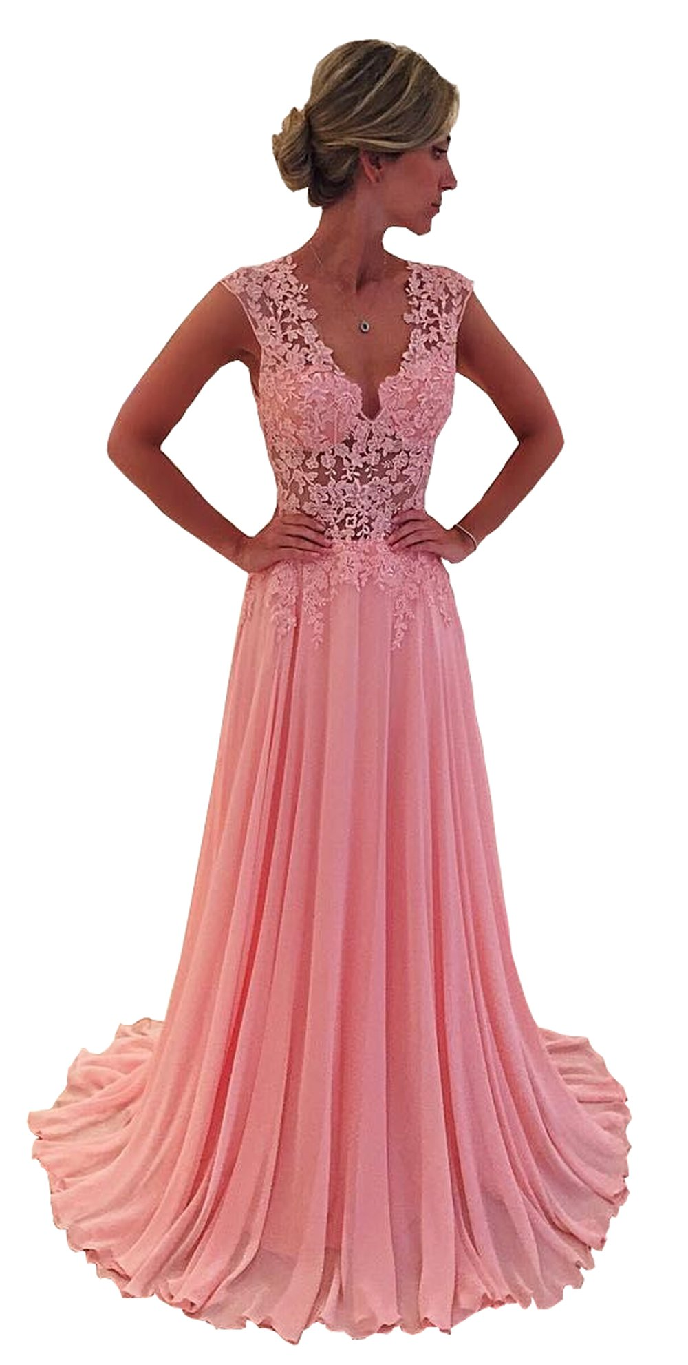 Nina Cheap Prom Dresses V Neck Sleeveless Women's Dress Formal Occasion Wear Party Gown Pink (4)