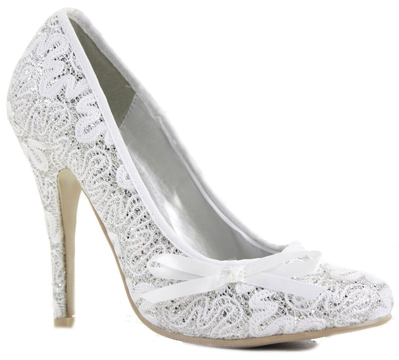 Ladies Womens Satin Prom Silver High Heels Stiletto