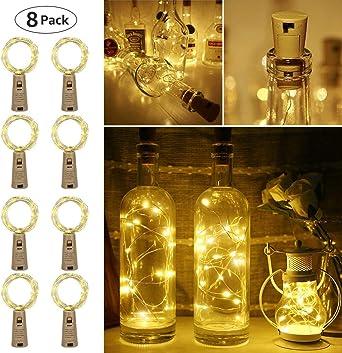 LE 2m 20 LED Luces de Botella de Vino Cobre con Corcho, Pack de 8 ...