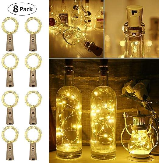 LE 2m 20 LED Luces de Botella de Vino Cobre con Corcho, Pack de 8, a Pilas, Guirnaldas Luces LED Blanco Cálido, Decorativas para Romántico Boda, ...