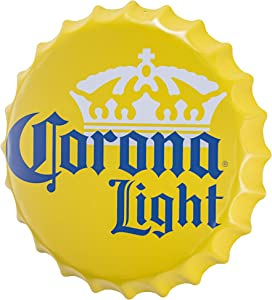 Officially Licensed Corona Light Bottle Cap Shaped Metal Beer Wall Decor for Bar, Garage or Man Cave (16