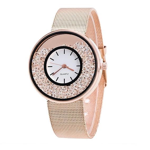 Reloj de Pulsera de Cuarzo de Acero Inoxidable Plateado para Mujer Reloje de Pulsera de Cuarzo