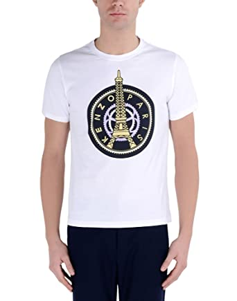 529875d3 Kenzo Men's White Eiffel Tower T Shirt (Small): Amazon.co.uk: Clothing