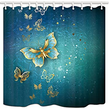 KOTOM Cortinas de Ducha de Mariposa, Algunas de Mariposa Oro Moho Resistente Cortinas de Tela de poliéster para baño, Cortinas de baño 70x70 Pulgadas: ...
