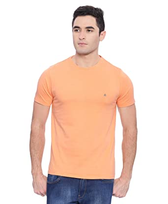 71ee68108fcaa Steenbok Men s Half Sleeve Orange Acid Wash Solid Round Neck T-Shirt   Amazon.in  Clothing   Accessories