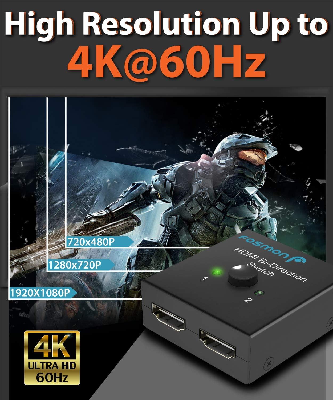 2x1 // 1x2 Bi-Directional HDMI Switcher UHD 4Kx2K 3D HD 1080p HDCP Apple TV Xbox One 2 Input 1 Output Splitter Hub Compatible with HDTV PS4 Roku Fire Stick Fosmon 2-Port HDMI 2.0 Switch 4K 60Hz