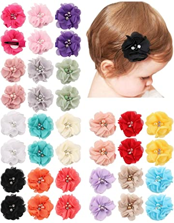 ad93d7bc015 QandSweet 36 Pack Girl s Hair Clips with Hand-Sewn Beads Flower Girl Teens  Kids Toddlers