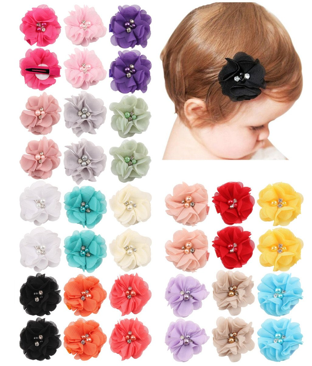 QandSweet 36 Pack Baby Girl's Hair Clips with Hand-sewn Beads Flower Girl Teens Kids Toddlers by QandSweet