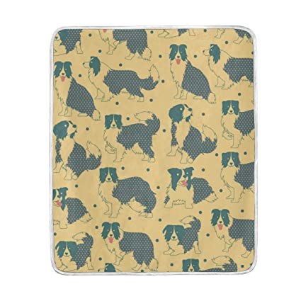 Amazon.com  Dog Border Collie Pattern Cute Throw Blanket for Bed ... 483119aa72