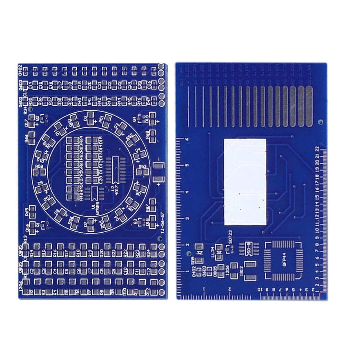 Rotating Flashing LED Components Soldering Practice Board DIY Set Training Set(Color:Blue) Gugutogo