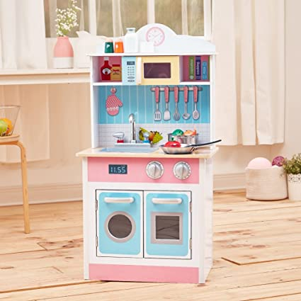 9c805bfacb1 Image Unavailable. Image not available for. Color  Teamson Kids Pastel Little  Chef Wooden Play Kitchen ...