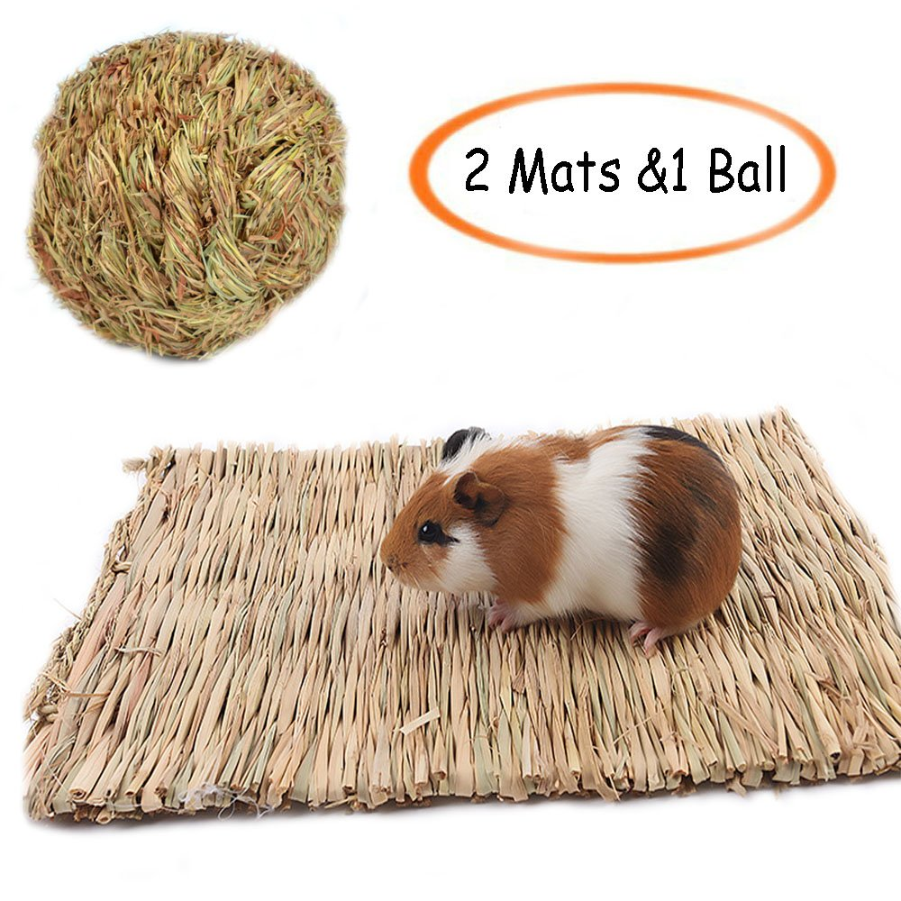 Grass Mat, Woven Bed Mat for Small Animal, Chew Toy Bed Play Ball for Guinea Pig Parrot Rabbit Bunny Hamster (Pack of 3) Hamiledyi
