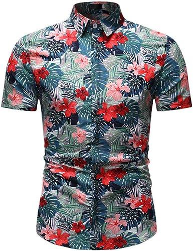 Camisa De Manga Corta De Los Hombres De Vacaciones En La Playa Simple Camisa Versátil Camisa: Amazon.es: Ropa y accesorios