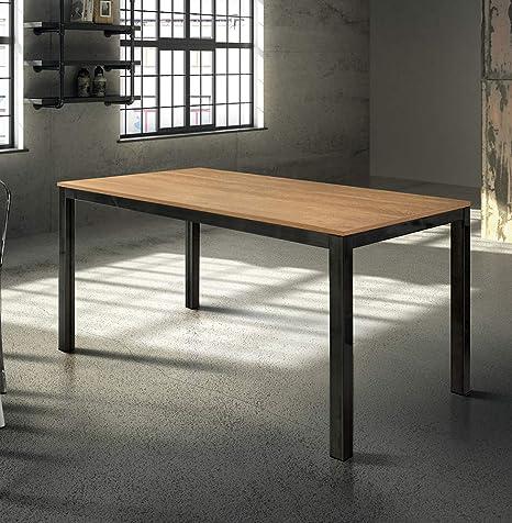 Milani Home srls Tavolo da Pranzo Moderno di Design ALLUNGABILE CM 80 X  140/200 Rovere Struttura Nera Piano Naturale per Sala da Pranzo
