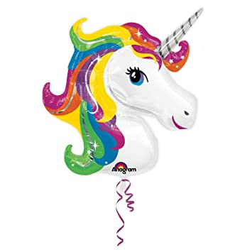 UK UNICORN HEAD HELIUM FOIL BALLOON Fun Party Decoration Birthday Girls Kids
