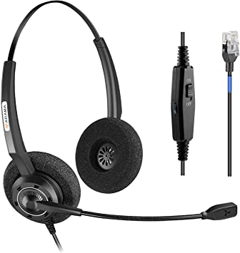 Amazon Com Arama Corded Headset Binaural With Noise Canceling Mic And Volume Mute Control Phones Headset For Polycom Mitel Mivoice Plantronics Allworx Altigen Digium Avaya Aastra Adtran Alcatel Lucent 200dm Electronics