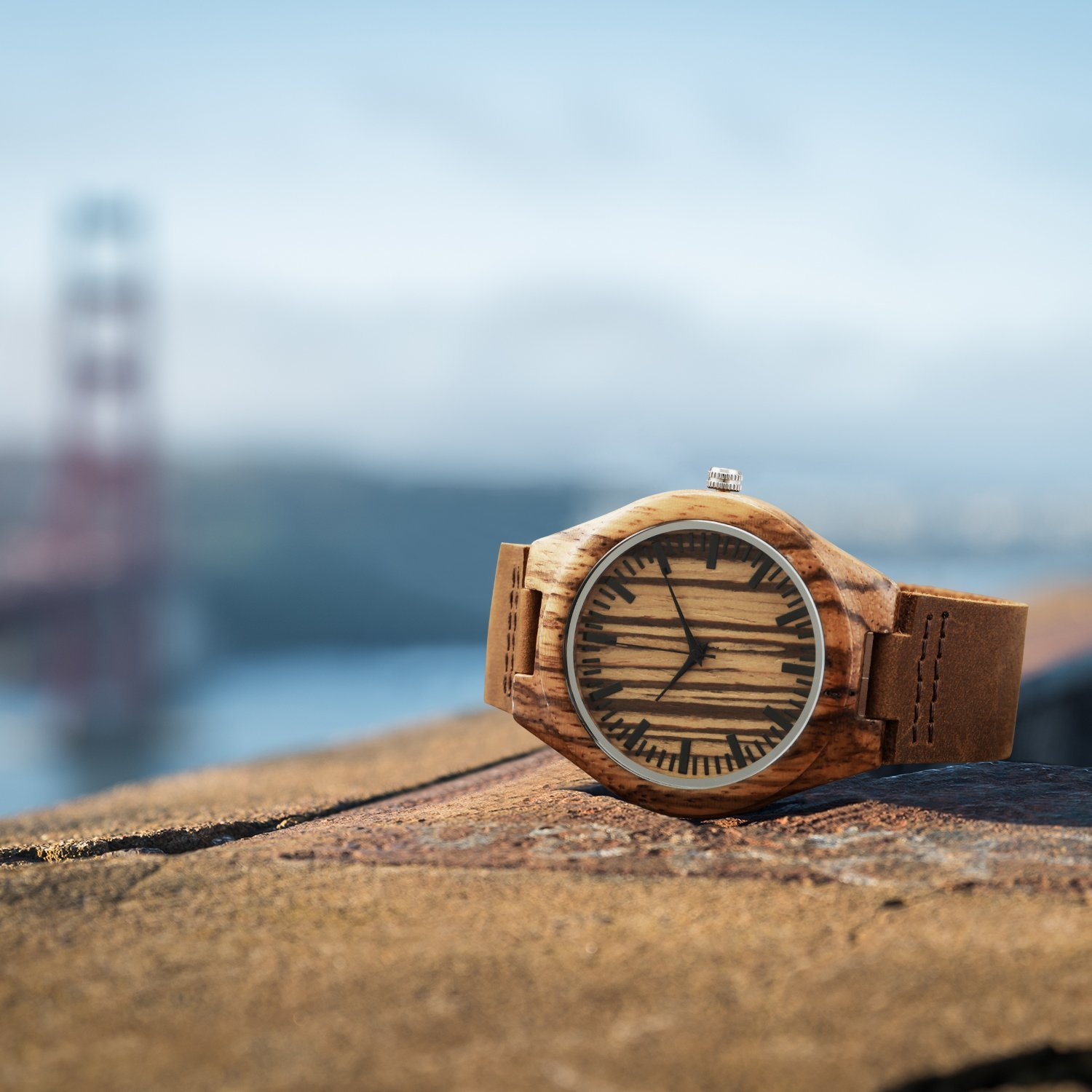 CUCOL Wooden Watches For Men Fashion Casual Watch Brown Cow Leather Strap Wood Watch With Box (Stripe) by CUCOL (Image #4)