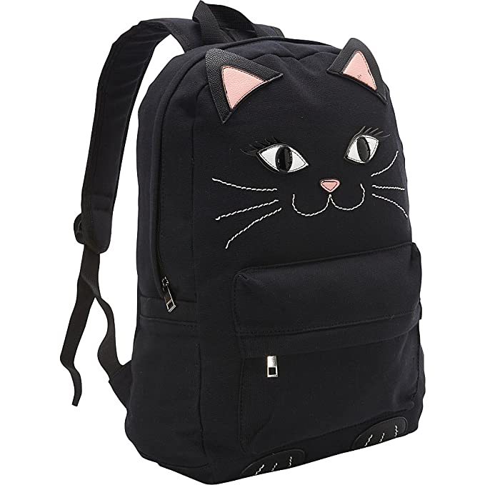 Black Kitty Cat Canvas Backpack