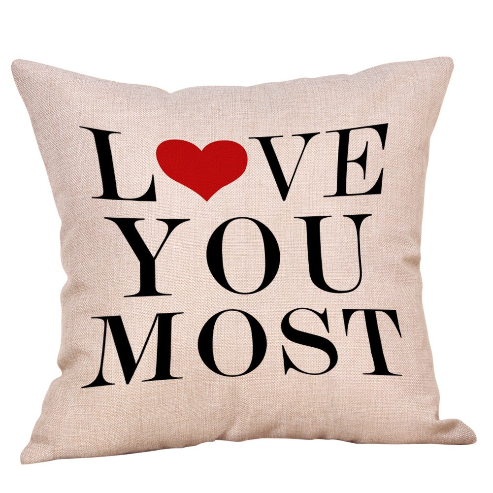 DIPOLA Funda de Almohada,Cojines Happy Valentine Sweet Love Square Creando un Ambiente Hogareño Rosa(18