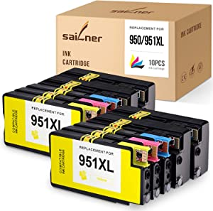 SAILNER Compatible Ink Cartridge Replacement for HP 950XL 951XL 950 XL 951 XL use with OfficeJet 8600 8610 8620 8630 8625 8100 (4 Black 2 Cyan 2 Magenta 2 Yellow, 10-Pack)