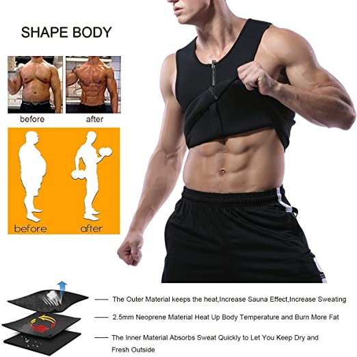 Hommes En Néoprène Gilet Chaud Gym Sauna Effet Sweat Thermal Tank Workout Body Shaper