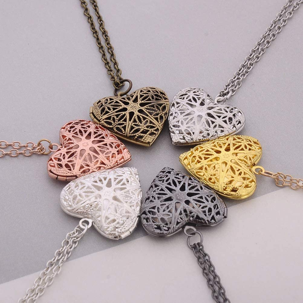 Gostear Photo Locket Necklace Birthday Family Mother Child Pictures Heart Pendant for Girls Women
