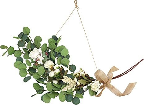 Amazon Com Lsme Eucalyptus Garland With White Artificial Hydrangea Flowers Greenery Wreath Ribbon For Hanging Wedding Wall Backdrop Front Door Living Room Decor Home Kitchen