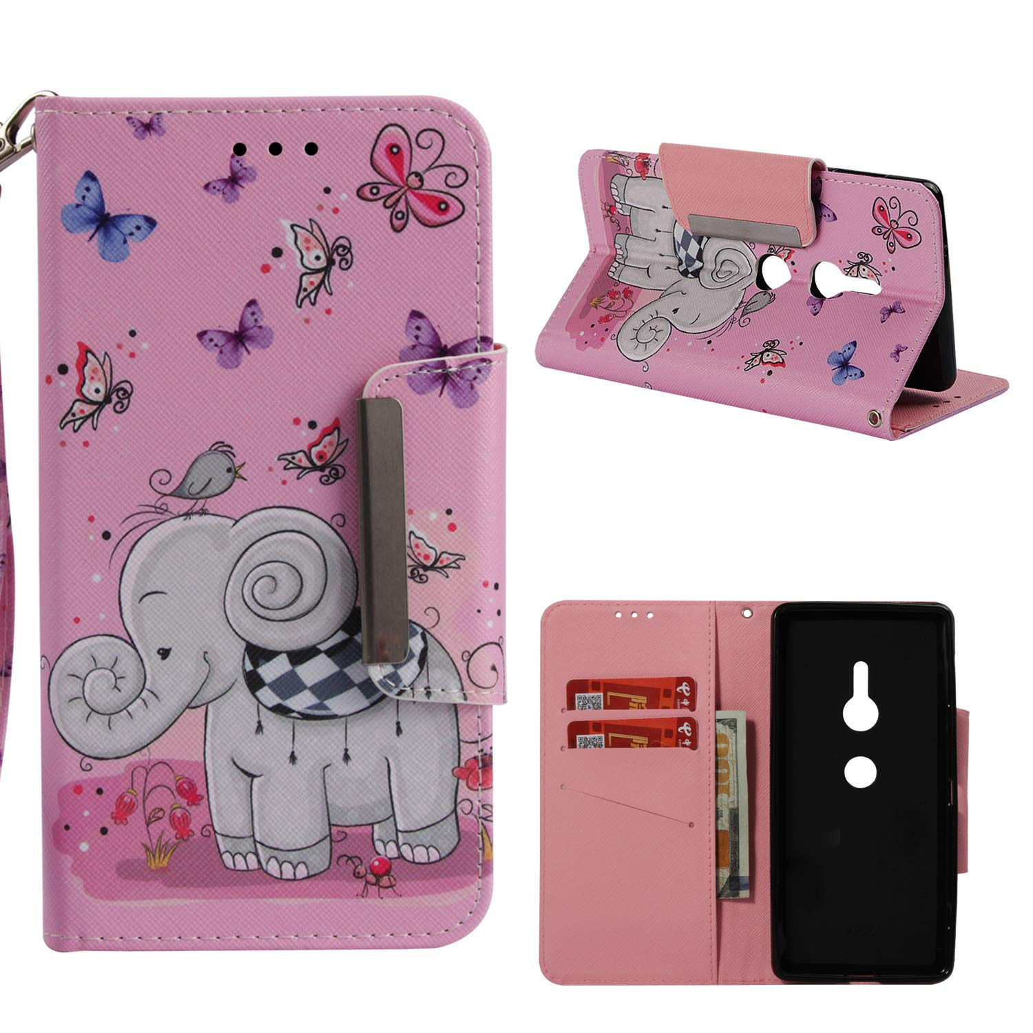Leather Wallet Case for Sony Xperia XZ 2,Shinyzone Cute Cartoon Butterfly and Elephant Painted Pattern Flip Stand Case,Wristlet & Metal Magnetic Closure Protective Cover
