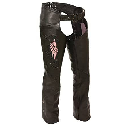 Milwaukee Womens Low Rise Double Buckle Leather Chaps Black, 5X-Large