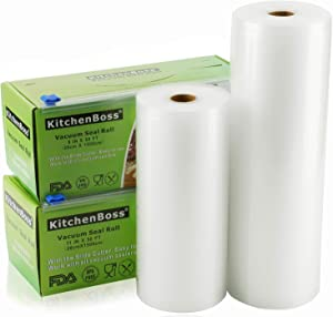 """Vacuum Sealer Rolls Bag, 2 Pack 8""""x50' and 11""""x50' Food Saver Bag Rolls with Cutter Box,Sous Vide Roll Bag(100 feet) Works with FoodSaver Sealers, by KitchenBoss"""