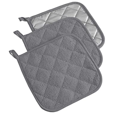 DII, Cotton Terry Pot Holders, Heat Resistant and Machine Washable, Set of 3, Gray