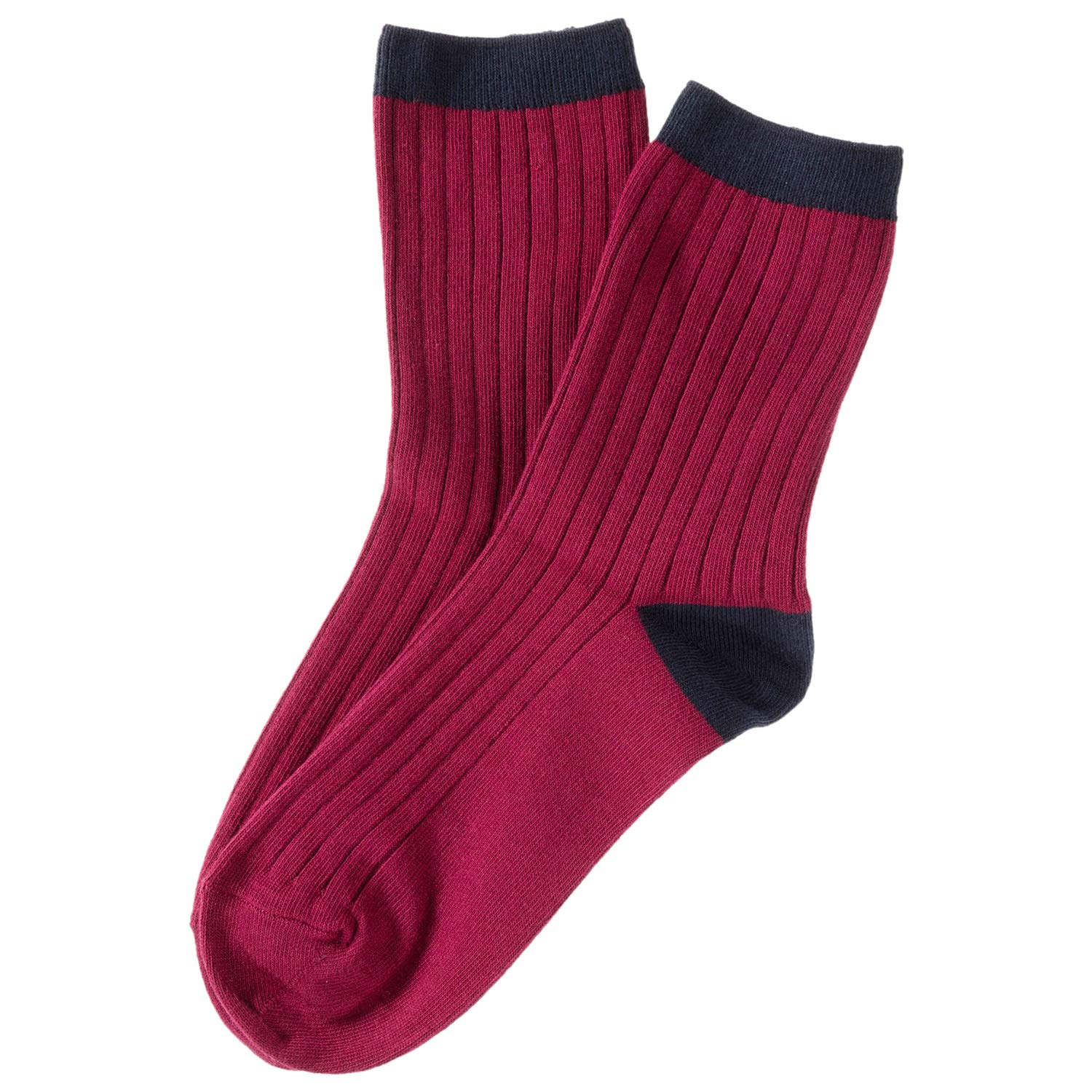 (Wine) Lian LifeStyle Women's 4 Pairs Combed Cotton Socks HR1751 Casual Size 69