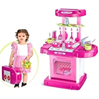 Popsugar Luxurious Kitchen Play Set with Accessories, Light and Music Toy for Kids,