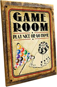 Wood-Framed Game Room Play Nice or Go Home Metal Sign, Poker, Billiards, Gaming, Mancave, Den, WallDecor on Reclaimed, Rustic Wood