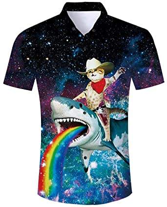 2d76830f71fea8 ALISISTER Mens Hawaiian Shirt Button Down Short Sleeve T-Shirt Tropical  Galaxy Shark Cat Pattern