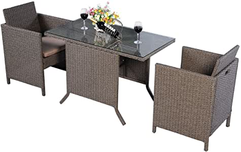 COSTWAY Conjunto Muebles de Ratán para Comedor Salón Jardín Terraza 1 Mesa y 2 Sillas para Exterior y Interior: Amazon.es: Jardín
