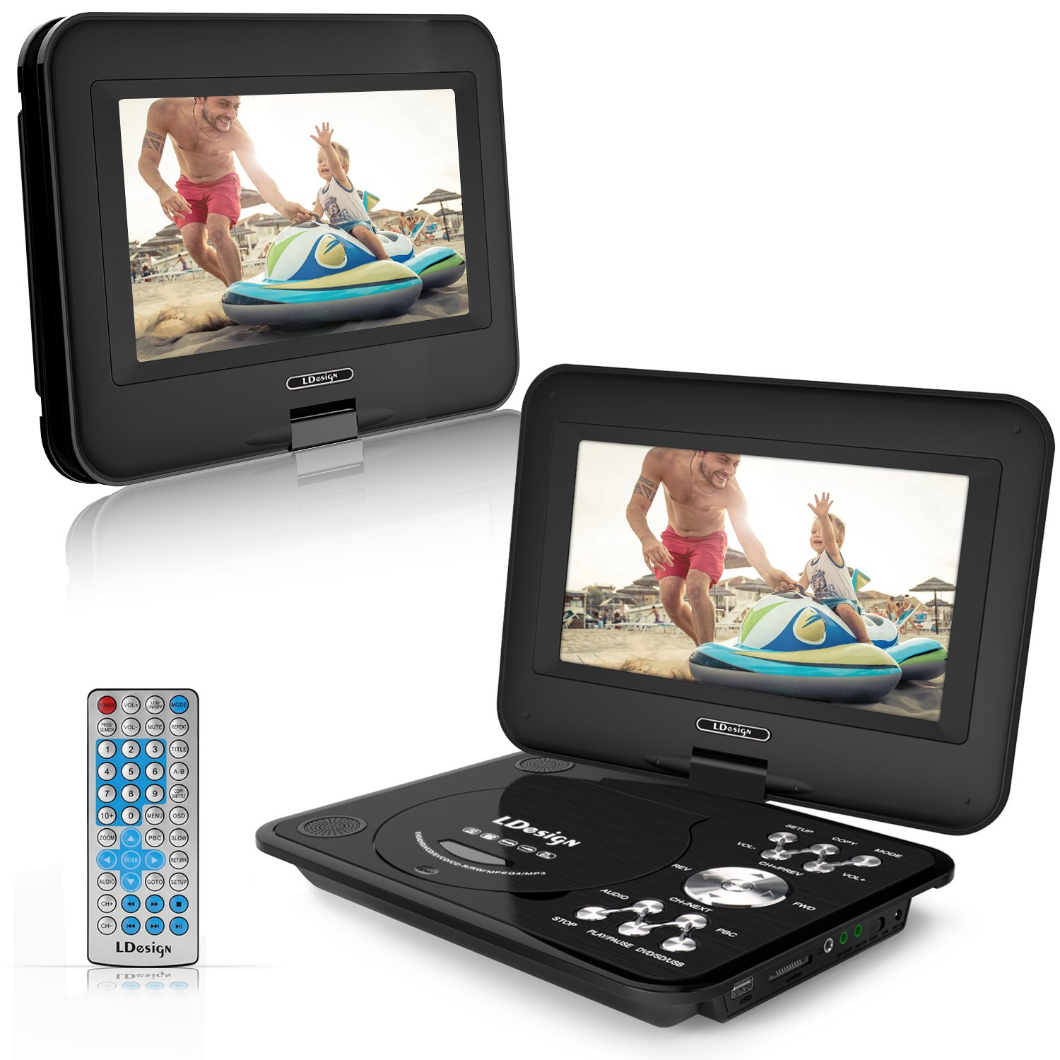 LDesign 9.5'' Portable DVD Player, Car DVD Player with 1024x600 TFT, Swivel Screen, 5-Hour Battery, Remote Control, Support SD Card & USB, Multi Media Play, Sync Screen, 3 Charge Mode, Last Memory