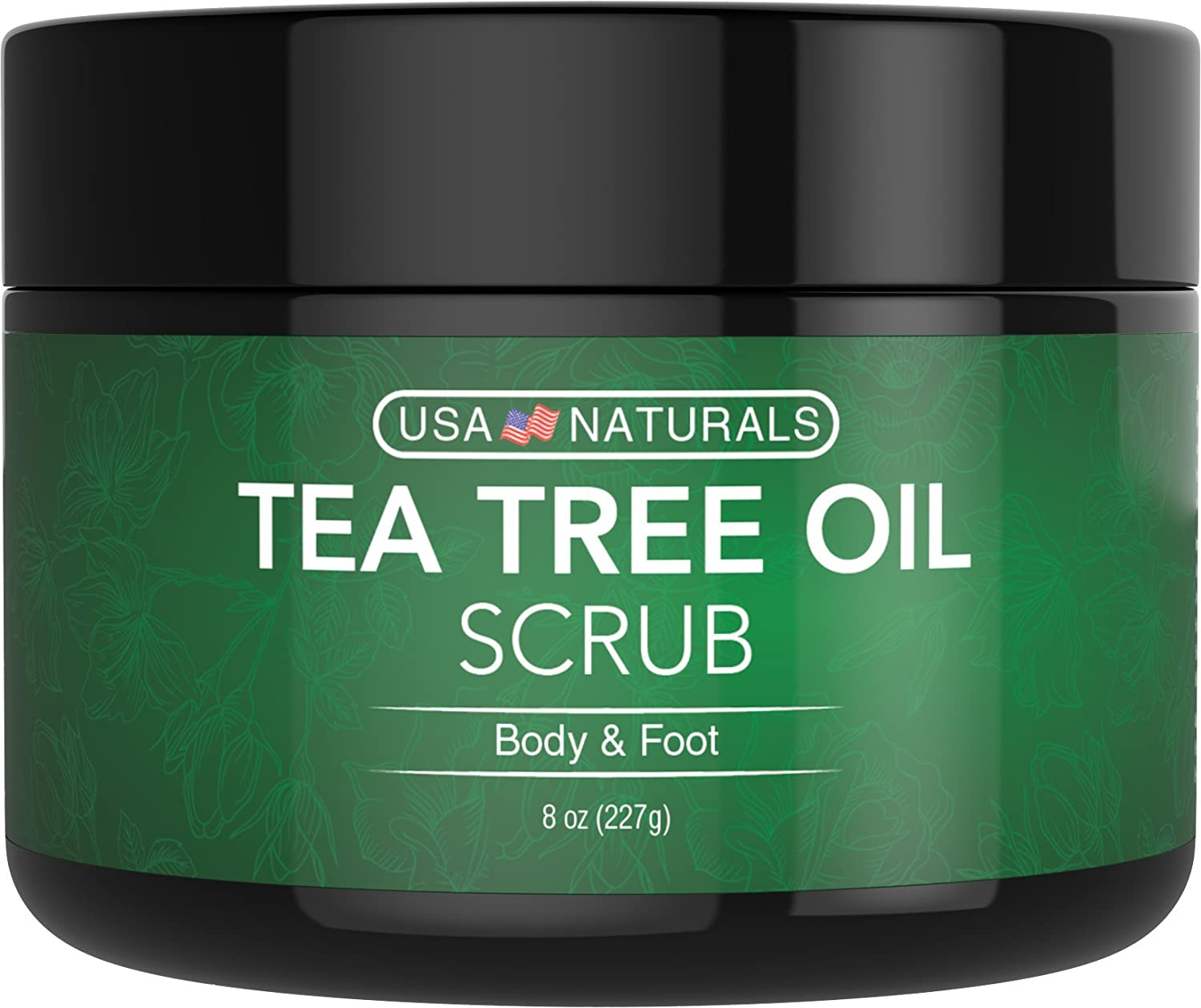 Tea Tree Oil Foot and Body Scrub - Antifungal Treatment - Exfoliating Scrub with a Unique Blend of Essential Oils - Smooths Calluses - Helps With Athlete's Foot, Acne, Jock Itch & Dead, Dry Skin USA Naturals Tea Tree Foot Scrub
