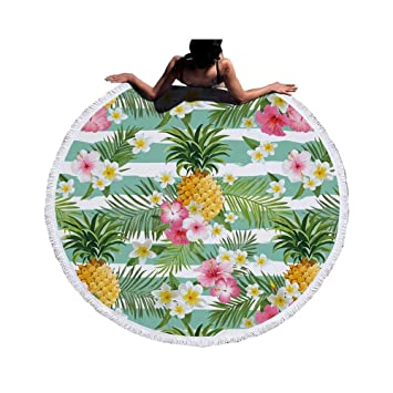 JUNYZSTJ Toalla De Playa Redonda De Microfibra Estampada De Flamenco con Borlas Toallas De Baño De Tapiz De Pared 150X150Cm, 3,150X150Cm: Amazon.es: Hogar