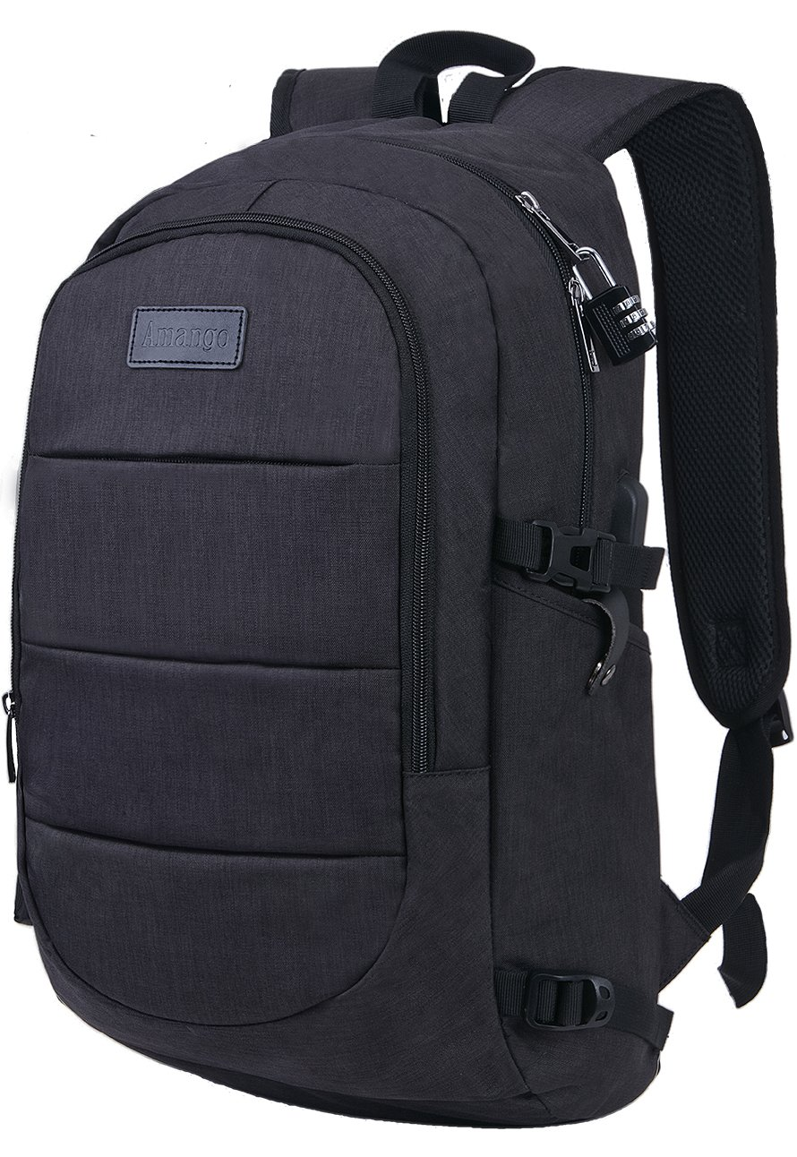 Laptop Backpack,Business Travel Laptop Backpack with USB Charging Port,Water Resistant High School Student Computer Bookbag Fits Under 17 Inch Laptop-Black