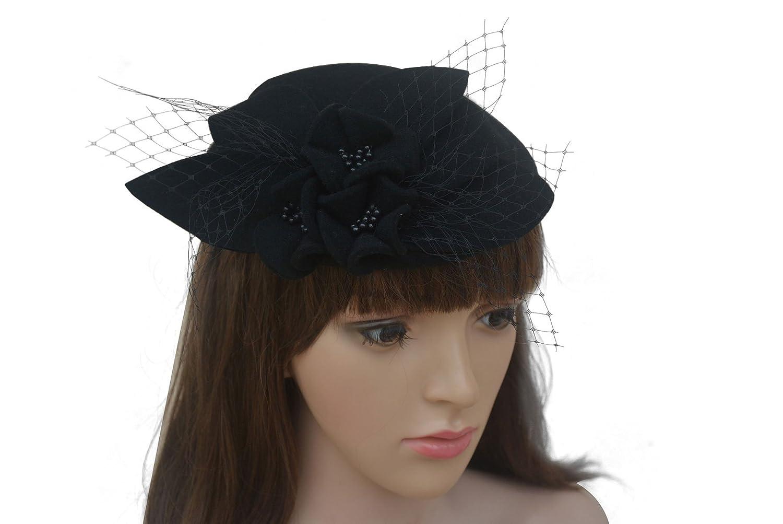 Lawliet Ladies Socialite Flower Black Pearl Wool Fascinator Pillbox Tilt Cocktail Hat
