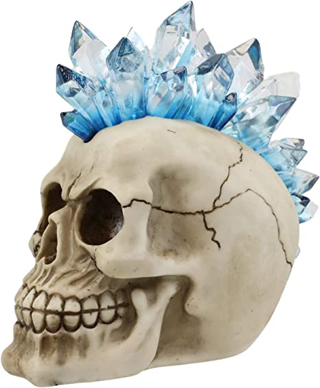 Colorful LED Night Light Mohawk Crystal Hair Skull Figurine Macabre Statue Decor