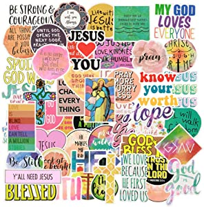 Christian Stickers for Water Bottle,Waterproof 50-Pack Religious Bible Faith Stickers Decal for Laptop. Jesus and Cross Vinyl Stickers for Phone,Hydro Flasks,Car.Cute Bible Accessories (Christian)