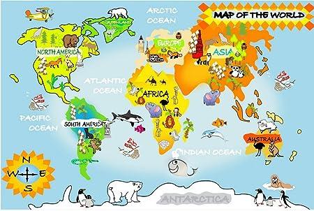 Childrens world map photo wallpaper animal cartoon world map childrens world map photo wallpaper animal cartoon world map mural wall decoration bz988 140cm wide x100cm gumiabroncs Choice Image