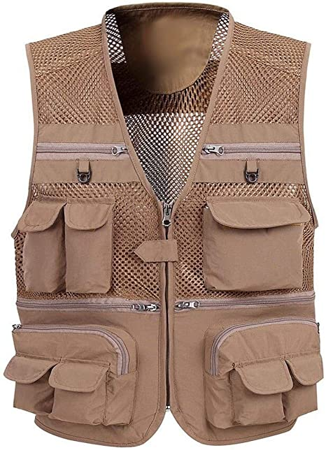 Men Outdoor Multi Pocket Vest Travelers Fly Fishing Camping Quick-Dry Jacket New