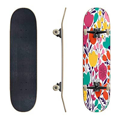 EFTOWEL Skateboards Colorful and Bright Seamless Pattern with Leaves and Flowers Classic Concave Skateboard Cool Stuff Teen Gifts Longboard Extreme Sports for Beginners and Professionals : Sports & Outdoors