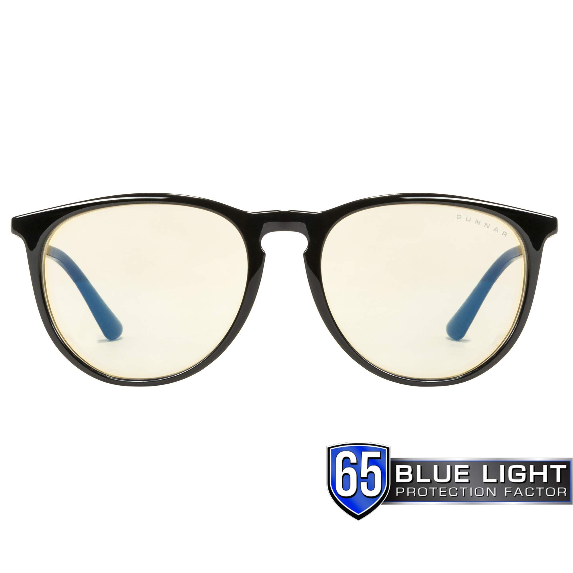 Gunnar Optiks MEN-00101 Gaming and Computer Eyewear/Menlo - Patented Lens, Reduce Digital Eye Strain, Block 65% of Harmful Blue Light - Amber Lens - PC/ Mac/ Linux