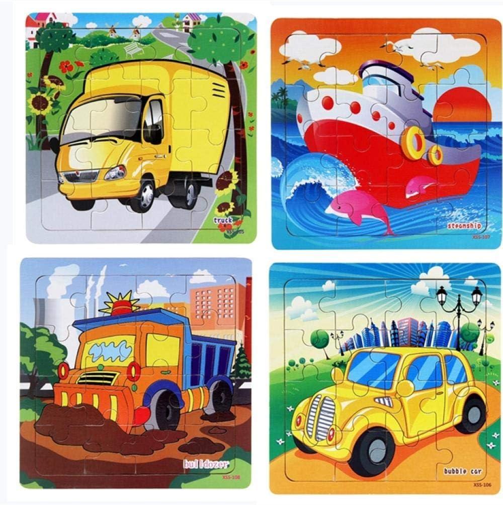 Qazqian 2020 Nuevo patrón de vehículo de 16 rebanadas Rompecabezas de Madera de Piezas pequeñas para niños Juguetes de Madera Rompecabezas para bebés Juguetes educativos para niños Juego-XSS-102