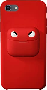 ComfortHurry iPhone Case with Airpod Holder on The Back- Compatible with iPhone 11 Pro, iPhone 11, iPhone 8, iPhone SE, Airpods Pro and AirPods (Red, iPhone 11/Airpods)